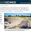 Live Science: 3,200-Year-Old Stone Inscription Tells of Trojan Prince, Sea People